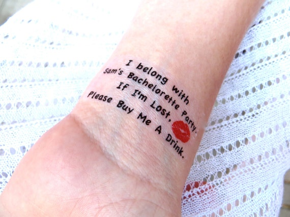 SALE Bachelorette Party Temporary Tattoo - As seen on Lauren Conrad - 10 plus FREE Bride Tattoo -I'm Lost, Please Buy Me A Drink