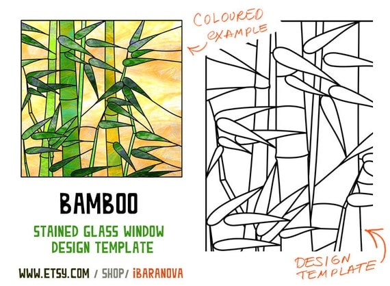 Items similar to bamboo stained glass window design for Window design template
