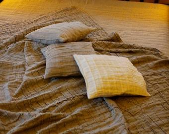 Linen Blanket / Linen Bedspread / Linen Throw Blanket / Soft Linen Plise Corrugated Bed Cover / Linen Plise Plaid
