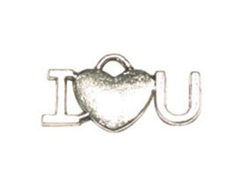 BULK 30 pcs - Silver I Love You Charm 12x23mm - Ships from Texas by TIJC  - SP0673B