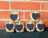 Chalkboard Heart Wedding Votive Candle Holder / Rustic Wedding Light / Burlap and Lace Wedding Decoration / Country Wedding Decor / 6