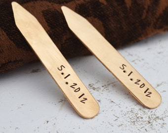 Bronze Collar Stays, Personalized Collar Stays, 8th Anniversary Gift, Gift for Him, Custom Collar Stays, Collar Stiffeners, Father of Bride