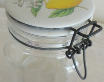 Glear Glass Jar With Attached White CeramicLid Painted Lemon