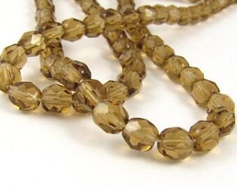 Smoke Topaz  6mm Facet Round Czech Glass Fire Polished Beads #1251