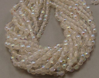 Crystal Clear AB  4mm  Round Czech Glass  Beads 100pc #612