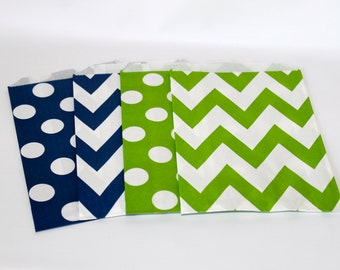 SeaTtle SeaHawKs paper goodie favor treat bags green and blue party supplies tailgate football navy chevron polka dots