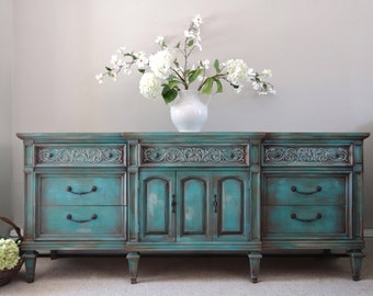 Country Cottage Chic Shabby Distressed Turquoise Teal Blue Dresser
