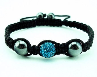 Ocean blue adjustable Shamballa bracelet