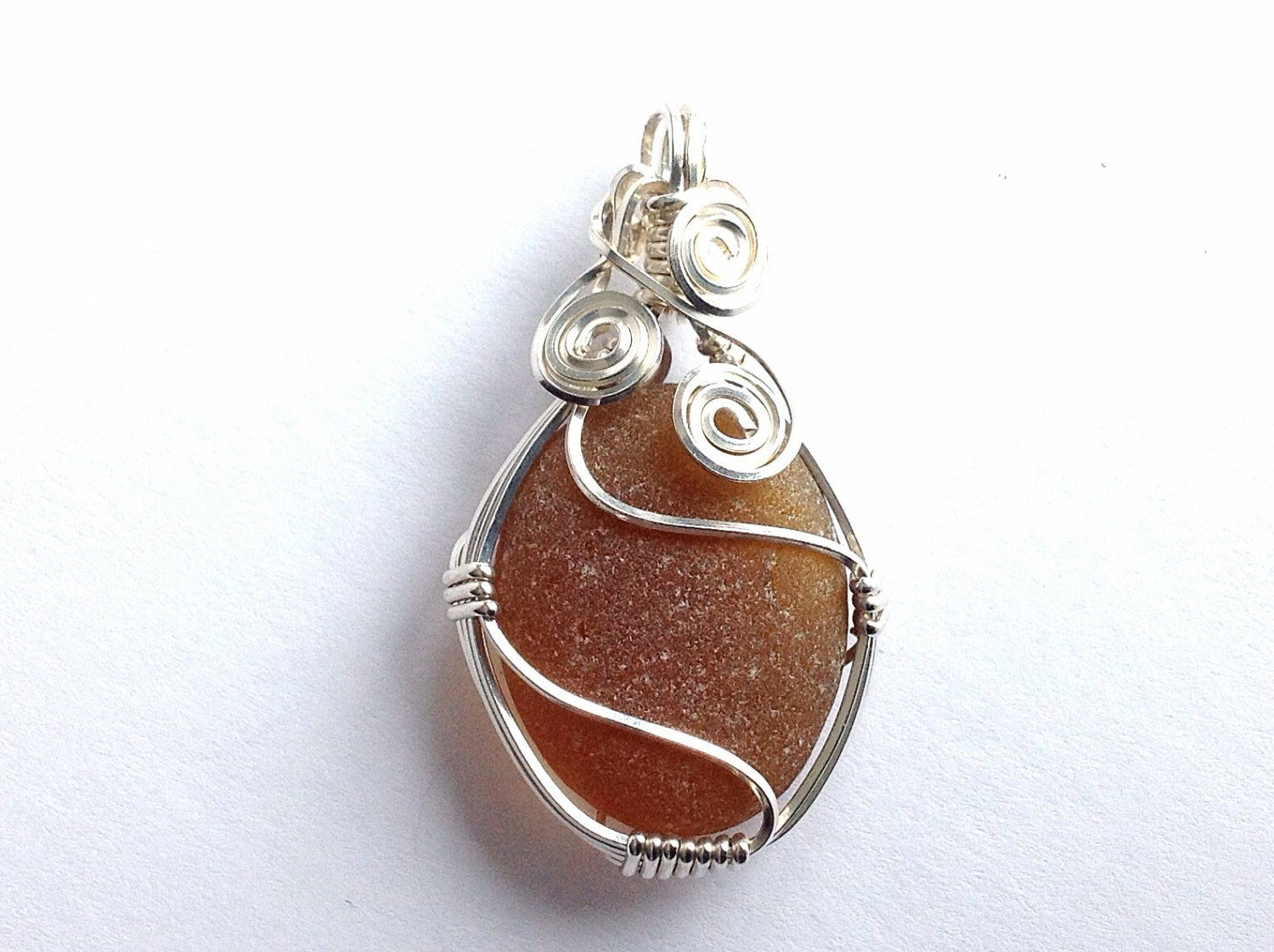 Wrapped Sea Glass And Sterling Silver Pendant Amber English
