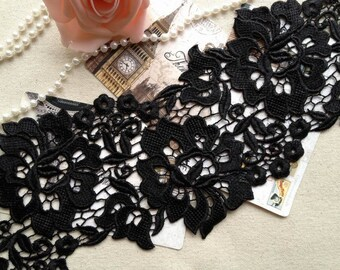 Black Venice Embroidery Rose Lace Trim for Bridal, Black Dress, Altered Couture or Jewelry
