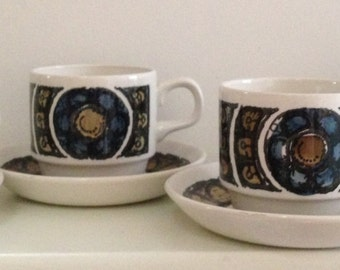 Sale* Retro Bilton coffee cups and saucers x 4