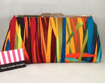 Multi Color Cotton Clutch Purse with Nickel/Silver Finish Snap Close Frame