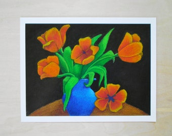 Print of Original Oil Pastel Painting, 8.5 x 11, Colorful Flower Still Life
