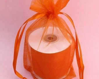 50 6''x8''   Orange  Organza Jewelry Gift Pouch Bags Great For Wedding favors, sachets, beads, jewelry, and more