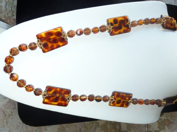 Joan rivers necklace or belt tortoise animal print lucite long for Joan rivers jewelry necklaces