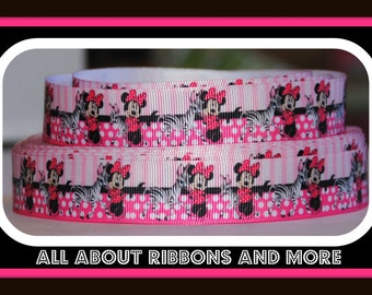 Hot Pink Minnie with Zebra Grosgrain Ribbon