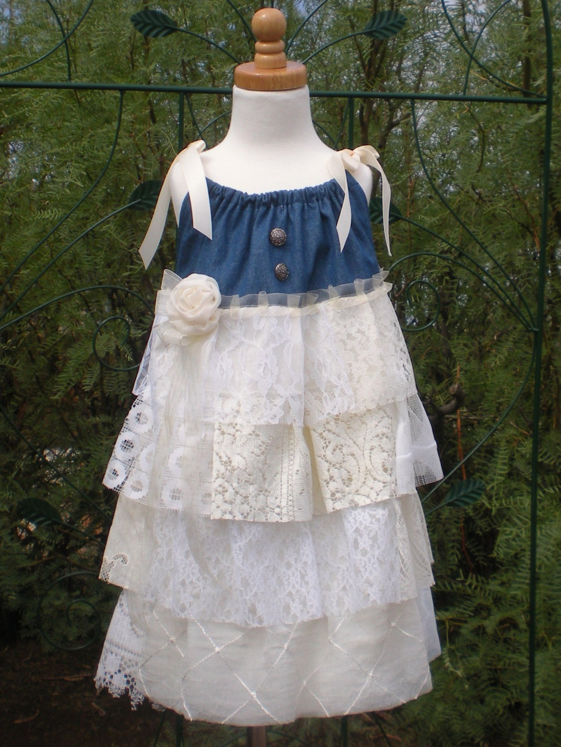 Country Flower Girl Dress Girls Shabby Chic Cowgirl Dress