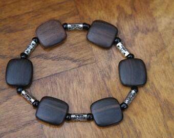 Wood bead black silver bracelet