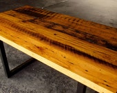 Reclaimed Dining Table - Metal Base