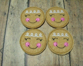 Pink & White Gingerbread Cookie felties, feltie, machine embroidered, felt applique, felt embellishment, hair bow supplies