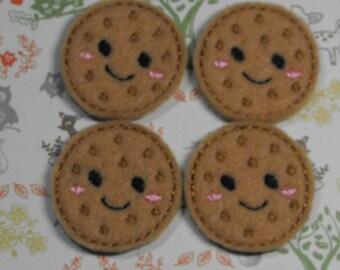 Cookie felties - feltie - Machine embroidered - felt applique - felt embellishments - scrapbook embellishment - hairbow center