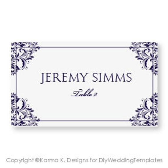 wedding place card template download by diyweddingtemplates. Black Bedroom Furniture Sets. Home Design Ideas