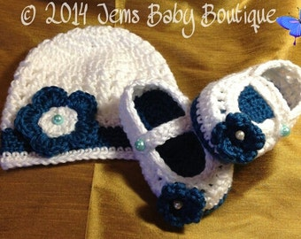 Prescious Petals Baby Girl Hat and Bootie SET, Teal & White,  Made to Order  Baby Girl  Booties with Flower,