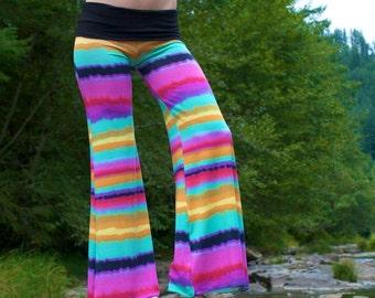 TIE DYE palazzo flare leg yoga resort lounge beach festival dance pants with fold over waistband