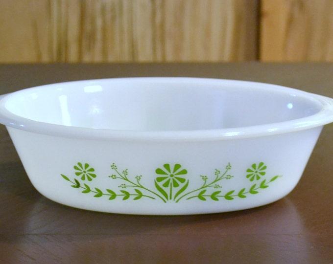 Vintage Glasbake Casserole Daisy Days Retro Baking Dish Green White panchosporch