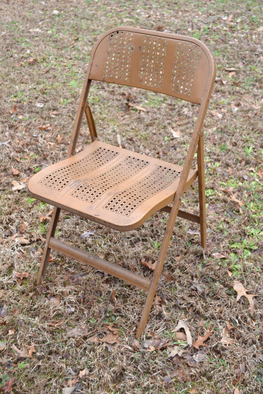 Vintage Metal Folding Chair Camping Coleman Beige Perforated