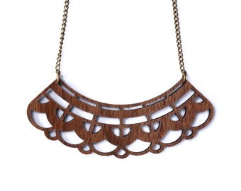 Lacey Wood Statement Necklace