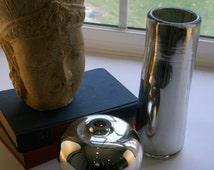 Mercury Glass Cylinder Vase - Handblown