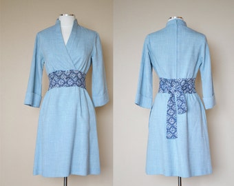 Light Blue Linen Knit Belted Shift Dress, Size Small