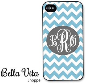 iPhone 4 Case -  Blue Chevron with Grey Monogram Personalized iPhone 4s Case, Baby Blue Pretty iPhone 4 Cover I4C