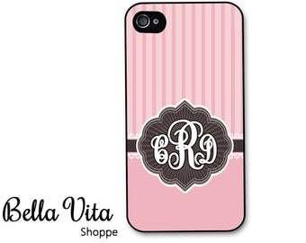 Monogrammed iPhone 4 Case -  Vintage Pink Stripes Monogram iPhone 4s Case, iPhone 4 Protective Case, Rubber iPhone 4 Cases (4046)