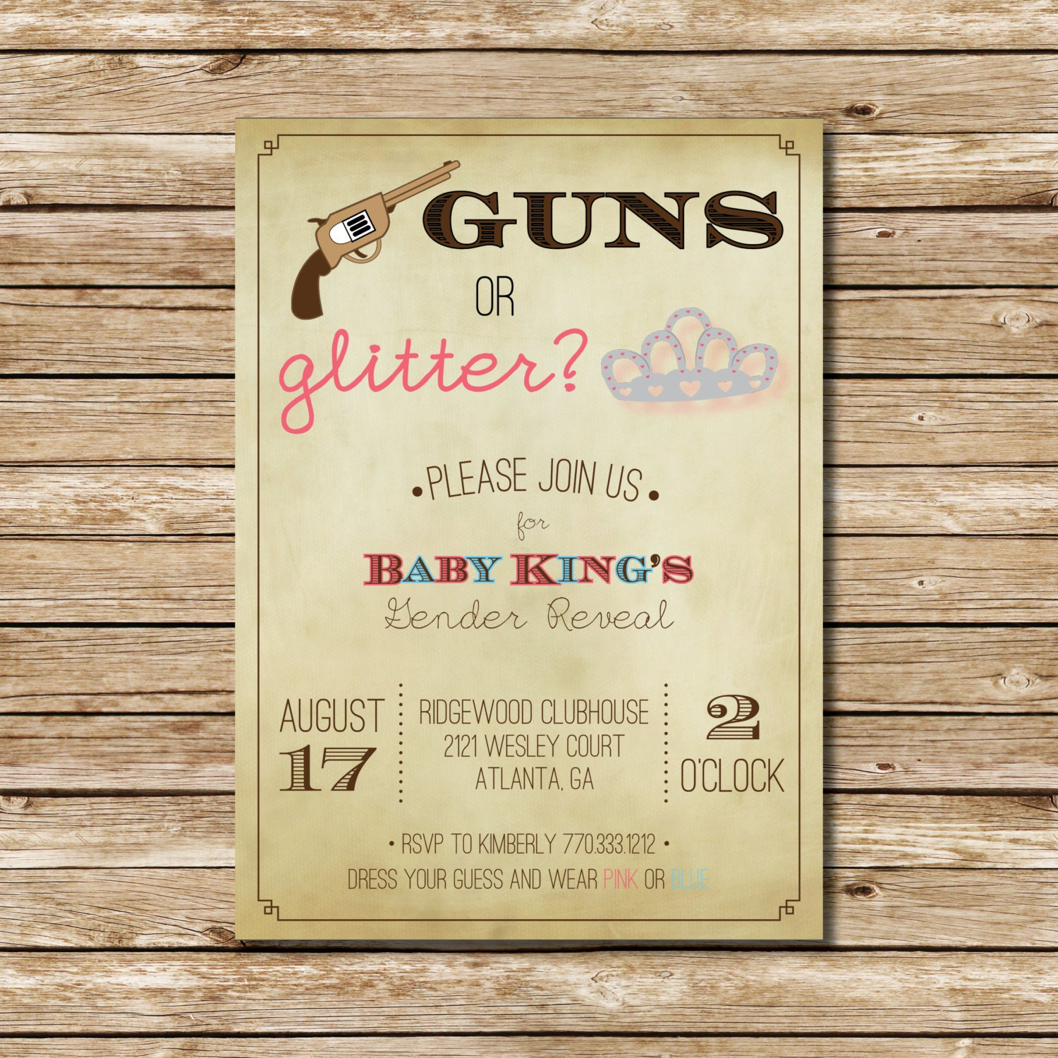 Guns or Glitter Gender Reveal by ohmydesignsbySteph on Etsy