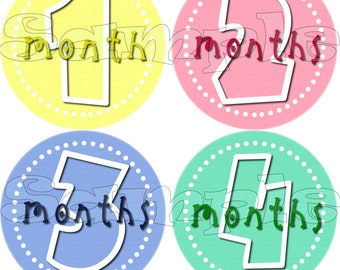BABY MONTH STICKERS Baby Shower gift 1-12 Month stickers precut infant monthly stickers Monthly stickers Onepiece Stickers Baby Girl
