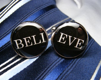 Believe Cufflinks - Mens Accessories - Unique Gift Ideas - For Him - Jewellery - Inspirational Word - Faith - Cufflinks - Motivational