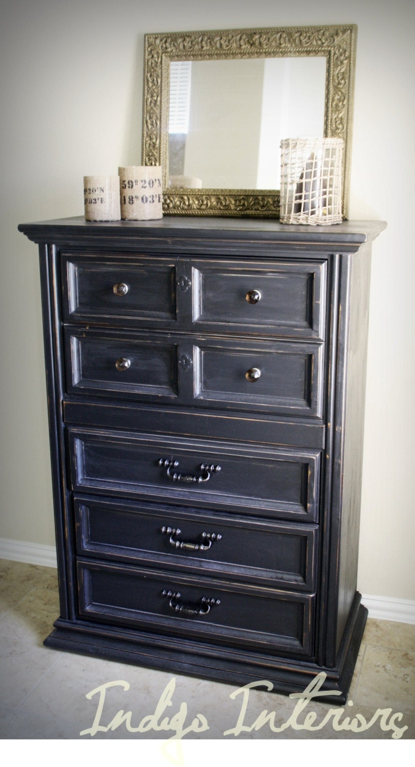 Reserved For Client Tall Black Distressed Dresser Table