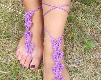 women barefoot purple nude shoes purple bridal shoes wedding shoes Barefoot Sandals Purple Crochet barefoot  Nude Shoes