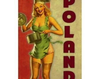 POLAND 2P- Handmade Leather Mini Wallet / Cardholder - Travel Art