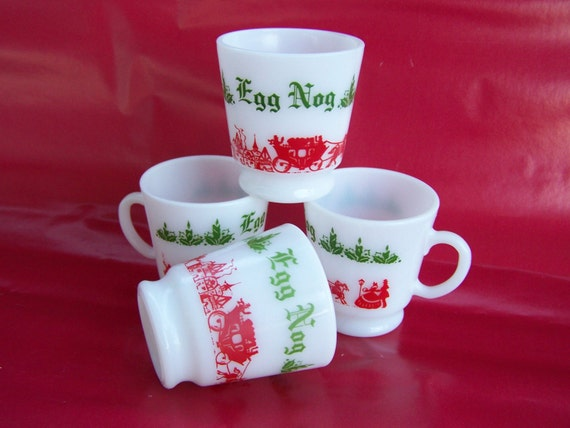Egg Nog Cups by Hazel Atlas, Christmas Dishes, Tom and Jerry Set,