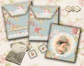 Shabby Tea Bag Envelopes - Digital Collage Sheet - Printables - Envelope Download - Instant Download - Shabby Chic - Tea Bag Holder