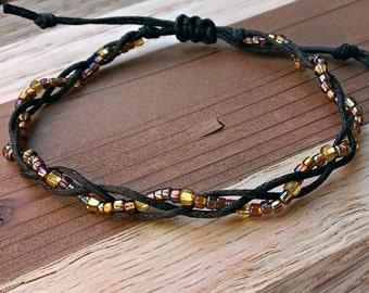 Handmade Multi Toned Brown Beaded Braid Bracelet