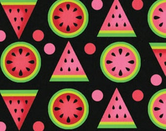 SUPER CLEARANCE! One Yard Mad for Melon - Melon Geo in Black - Cotton Quilt Fabric - by Kanvas - Benartex (W242)