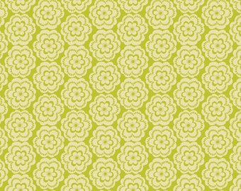 SUPER CLEARANCE! One Yard Paisleigh Tussie Mussie in Green Cotton Quilt Fabric - Maude Asbury for Blend Fabrics - Paisley Design (w419)
