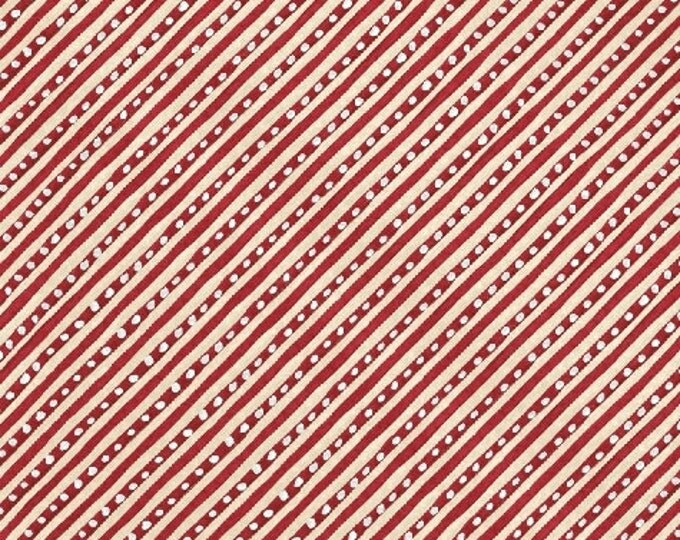 SALE!! Fat Quarter 12 Days of Christmas - Candy Cane Stripe in Red Cotton Quilt Fabric - by Kate McRostie - Windham Fabrics (W327)