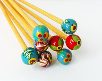 """Peace Fleece Hand Painted Wooden Knitting Needles - 14"""" Approx 35cm - 4mm"""