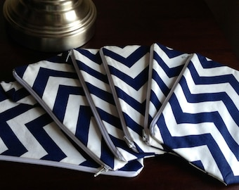 6 Bridesmaid Makeup bag, cosmetic case, zipper pouch, clutch - navy chevron