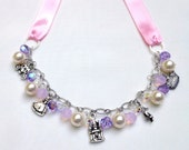 Darling Charm and Ribbon Necklaces - Custom - Made to Order, Swarovski Pearls and Crystals, Pewter Charms